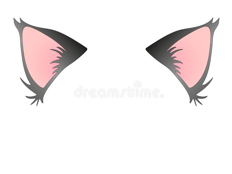 The cat ears are gray and pink. Cat ears, for the head. stock illustration