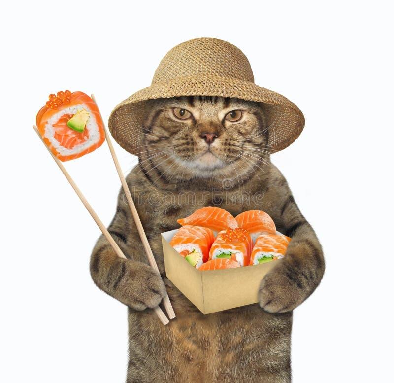 Free Cat Eats Sushi With Chopsticks 2 Royalty Free Stock Photos - 168928618
