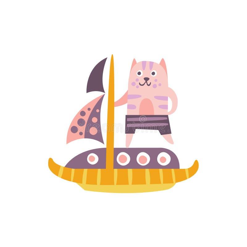 Cat On een Varende Boot Gestileerde Fantastische Illustratie stock illustratie