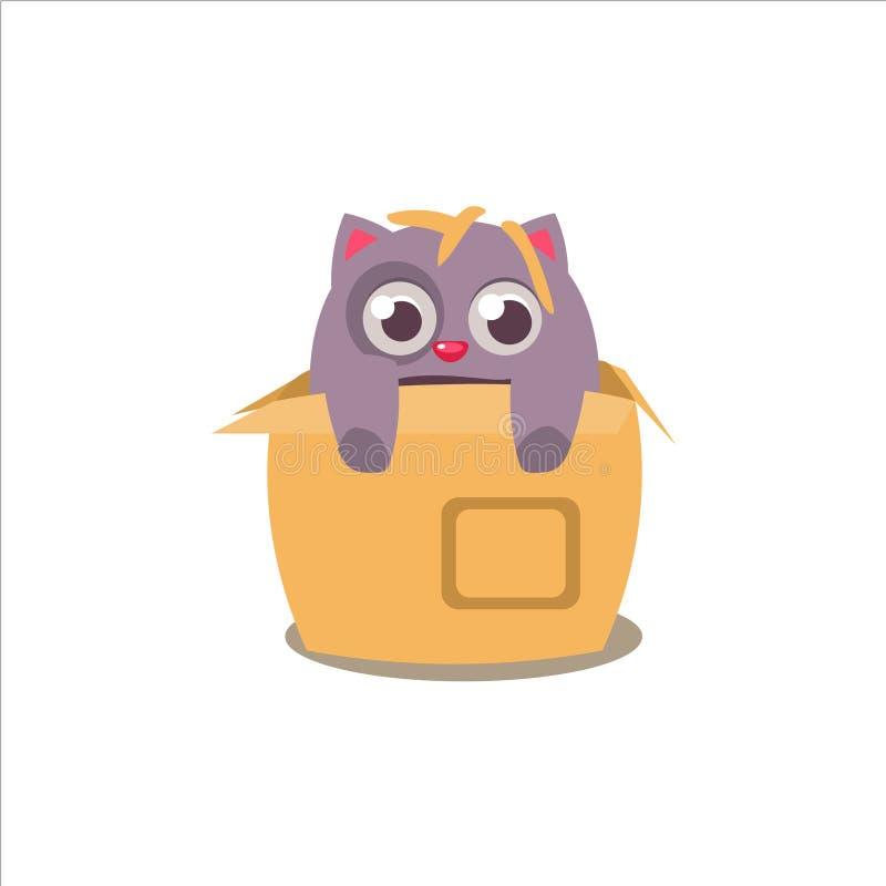 Cat Emerging From Box royalty-vrije illustratie