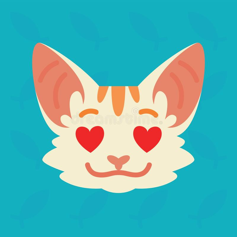 Cat emotional head. Vector illustration of cute kitty with hearts in eyes shows emotion. In love emoji. Smiley icon. Print, chat, communication. White cat with stock illustration