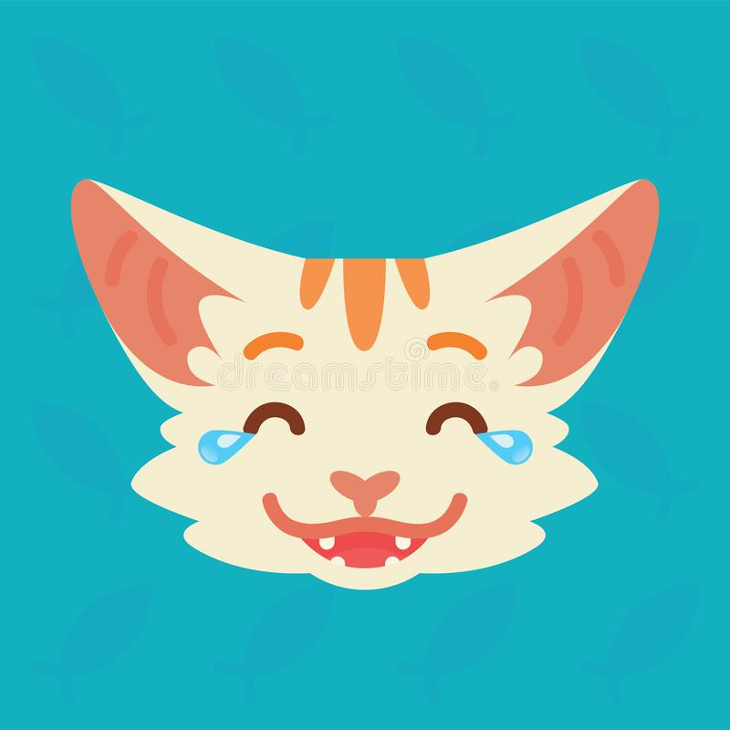 Cat emotional head. Vector illustration of cute kitty shows nicker with tears emotion. Laugh out loud emoji. Smiley icon. Print, chat, communication. White cat stock illustration