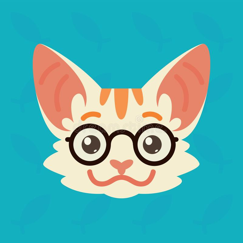 Cat emotional head. Vector illustration of cute kitty shows smart emotion. Nerd emoji. Smiley icon. Print, chat. Communication. White cat with red stripes in vector illustration