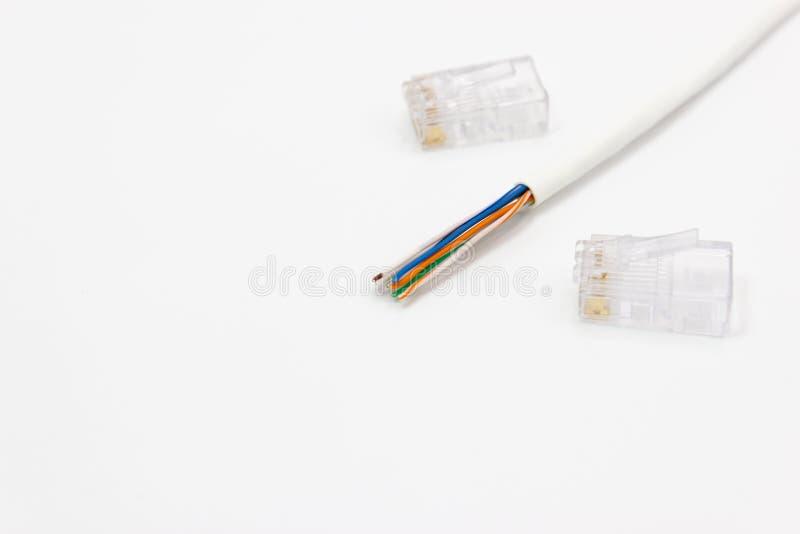 CAT5 ethernetów sieci kabel dla sieci komputerowych obraz royalty free