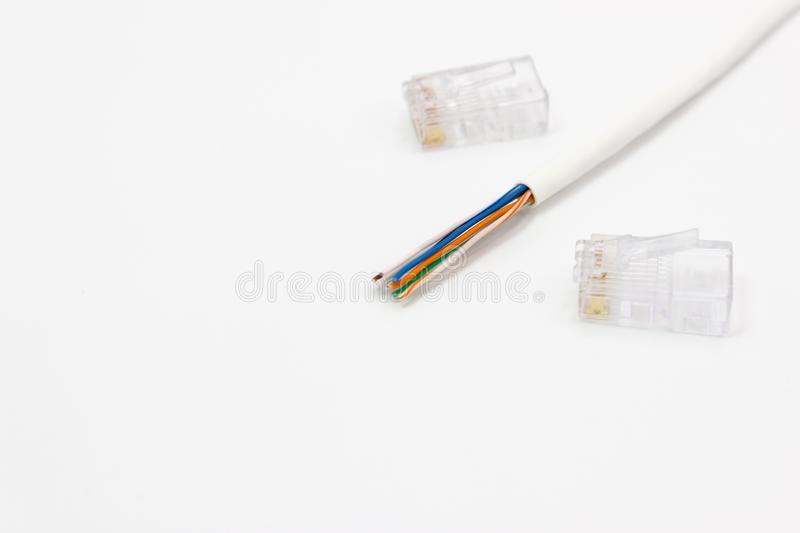 CAT5 Ethernet network Cable for computer networks. Detail CAT5 Ethernet network Cable for computer networks white background royalty free stock image
