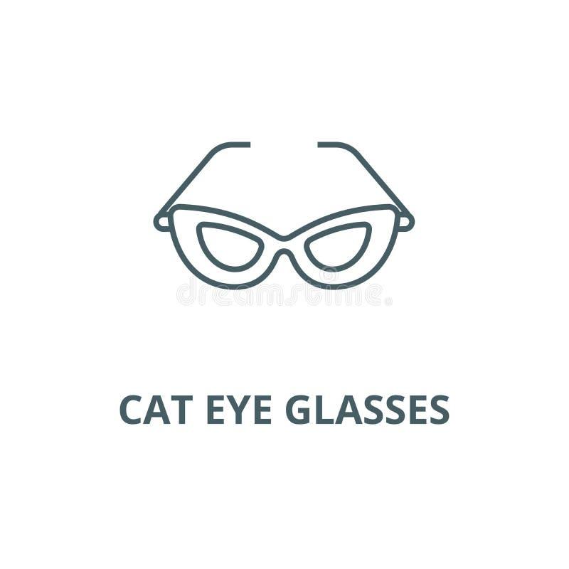 Cat eye glasses line icon, vector. Cat eye glasses outline sign, concept symbol, flat illustration stock illustration