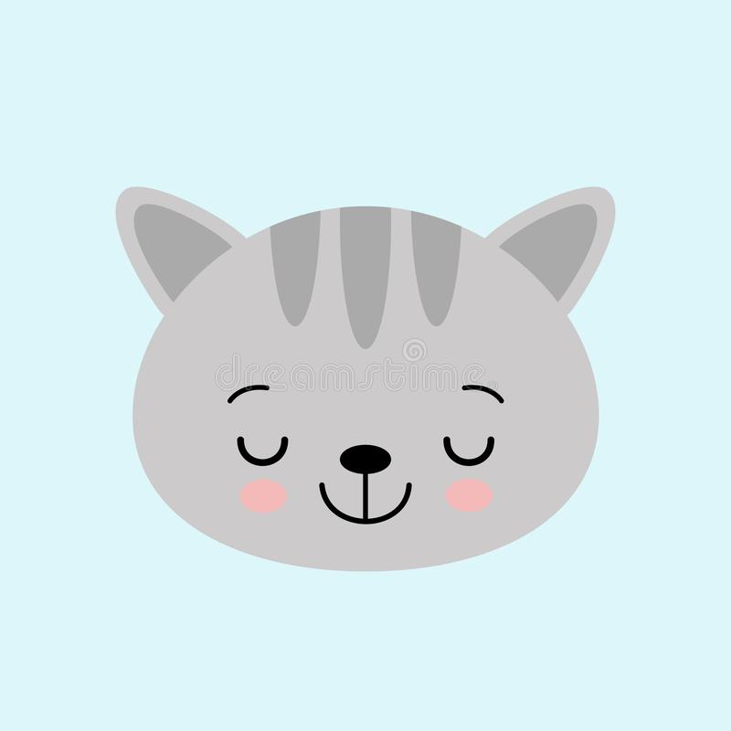 Cat face character. A cute gray kitten Vector illustration for greeting card, invitation vector illustration