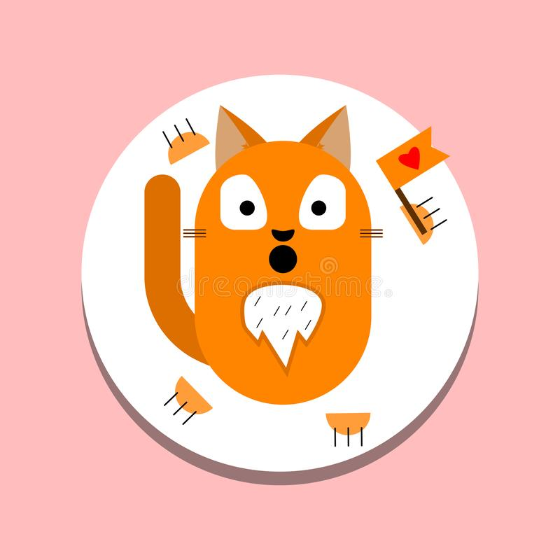Cat face character with eyes isolated on background. Kitten head icon. Pretty cute sweet animal. Pet emoticon royalty free illustration