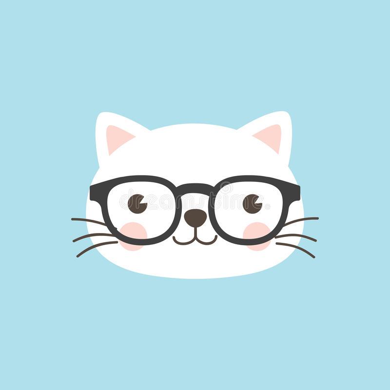Cat face Geek character. stock illustration