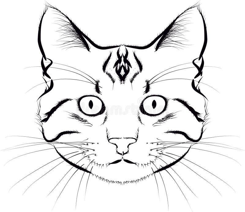 Cat Face Outline Black