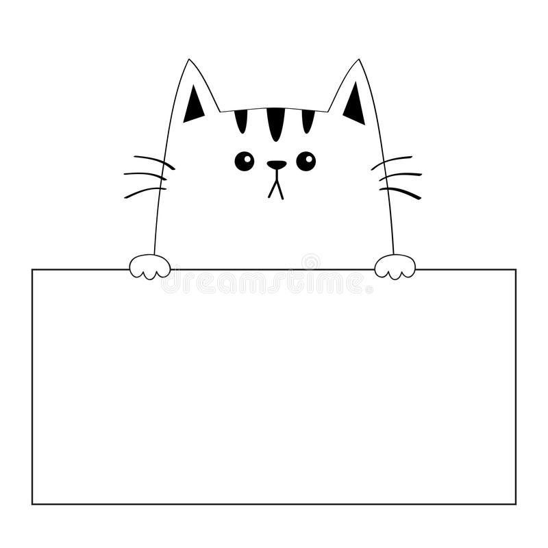 download cat face head silhouette hanging on paper board template paw hands contour line