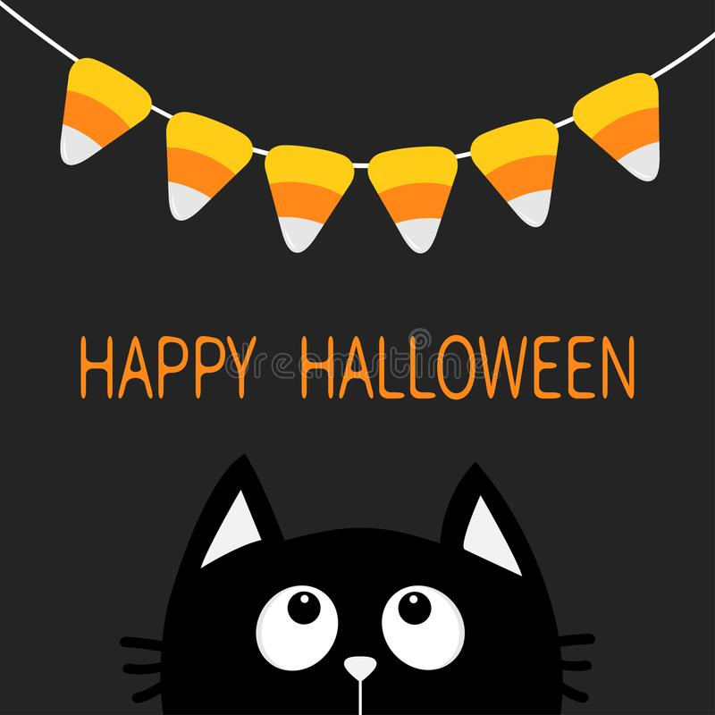 Free Cat Face Head Silhouette Looking Up To Bunting Flags Candy Corn. Flag Garland. Happy Halloween Card. Party Decoration Element. Han Royalty Free Stock Images - 99660749