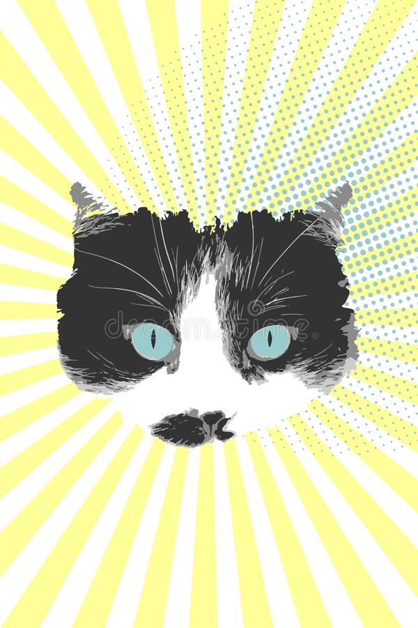 Cat face on pop art background. Black and white cat with blue eyes. Vector royalty free illustration
