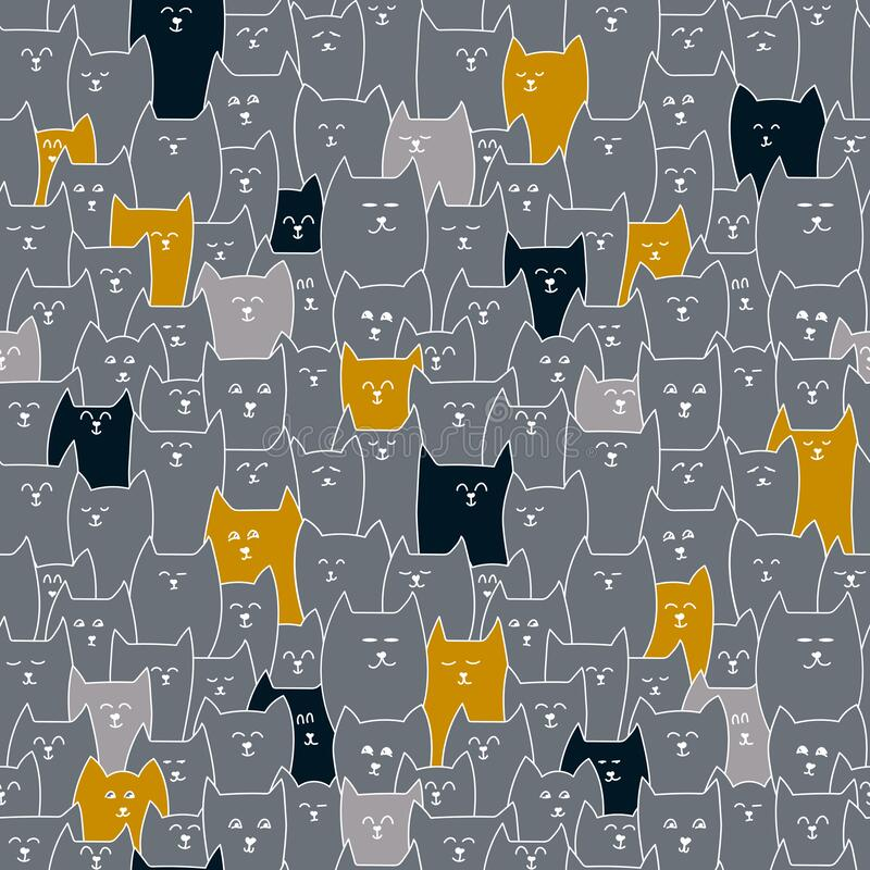 Cat face, seamless pattern. Gray, red, black animals, cute cats . Hand drawn vector background. Children`s pattern vector illustration