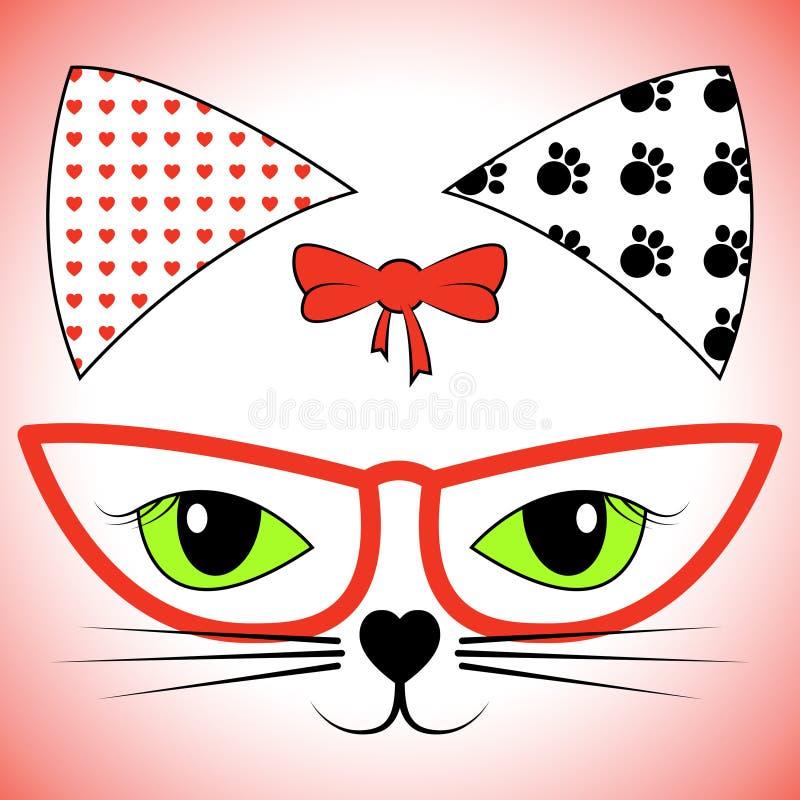 Cat Face Shows Pet Cats en Huisdieren stock illustratie