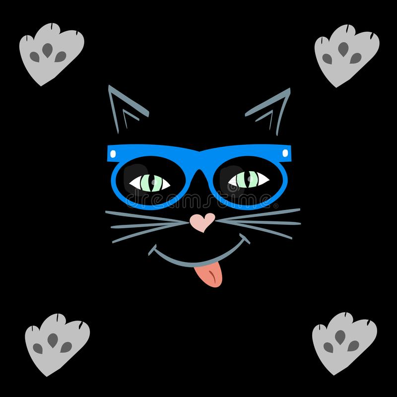 Cat face that smiles. pet in hipster glasses vector illustration