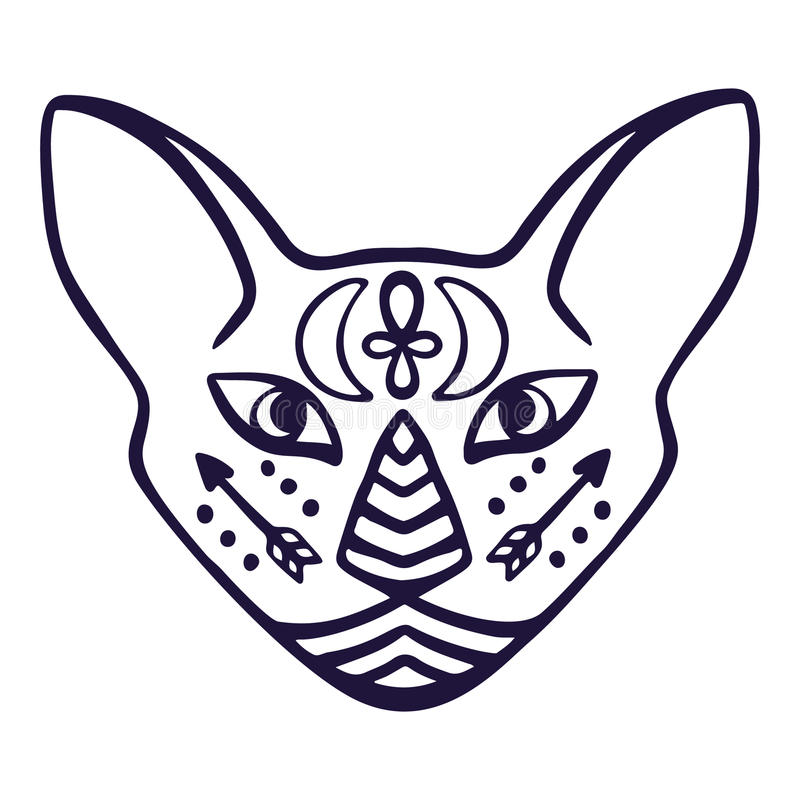 Cat face vector. Sacred animal of ancient Egypt, cat face with Egyptian hieroglyphic symbols. Hand drawn tattoo cat isolated on wh. Ite background. Great as t stock illustration