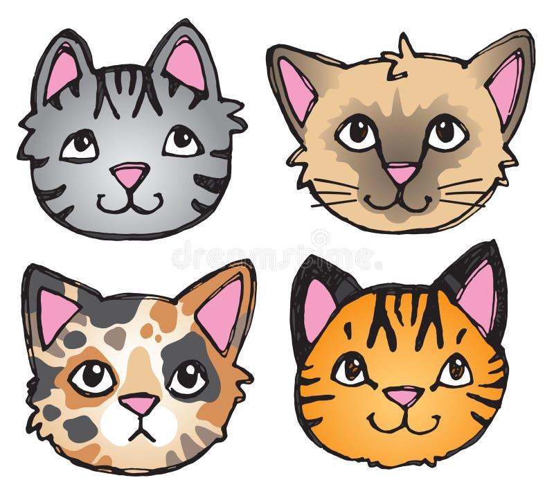 Cat Faces sutil ilustração stock