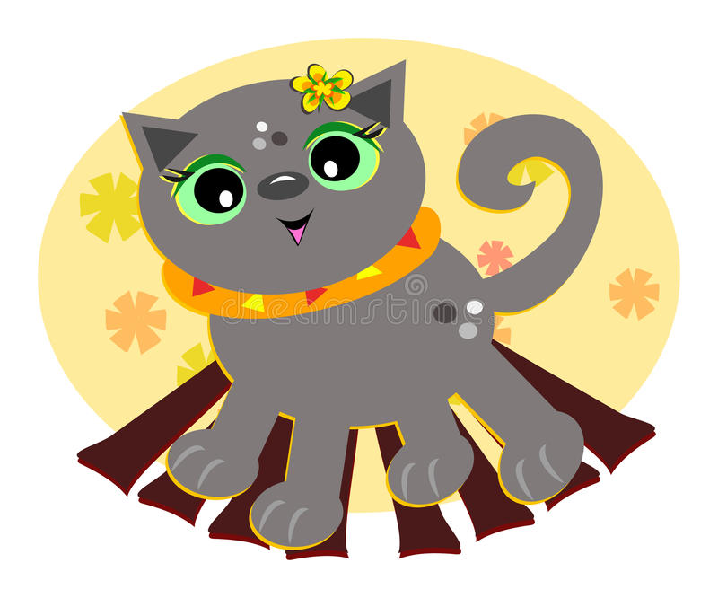 Cat in Fall Colors. Here is a cute Cat surrounded by Fall colors stock illustration