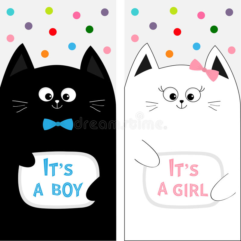 Cat family couple with bow. Flyer poster set. Cute funny cartoon character. Its a boy girl. Baby shower greeting card. Flat design vector illustration