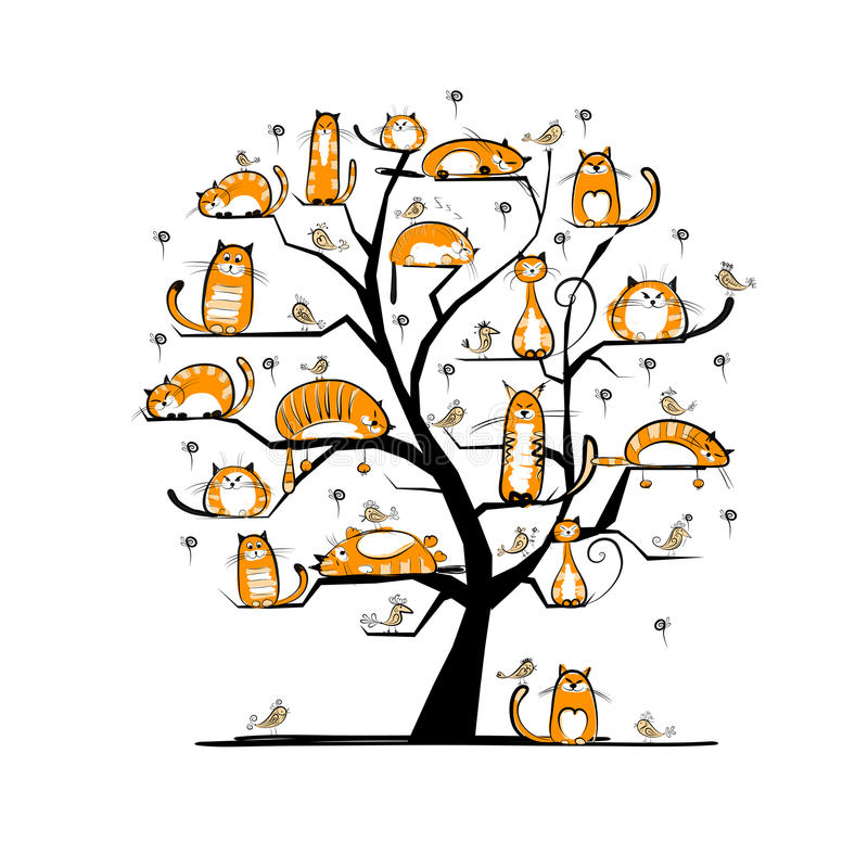 Free Cat Family Tree For Your Design Royalty Free Stock Photos - 31862048