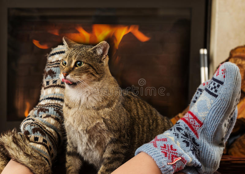 Cat and feet in front of the fireplace. Cat resting,Cat In Front Of Fireplace royalty free stock image
