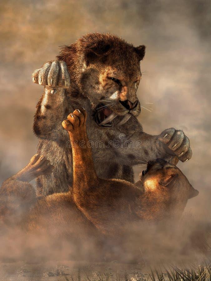 Cat Fight prehistórica stock de ilustración