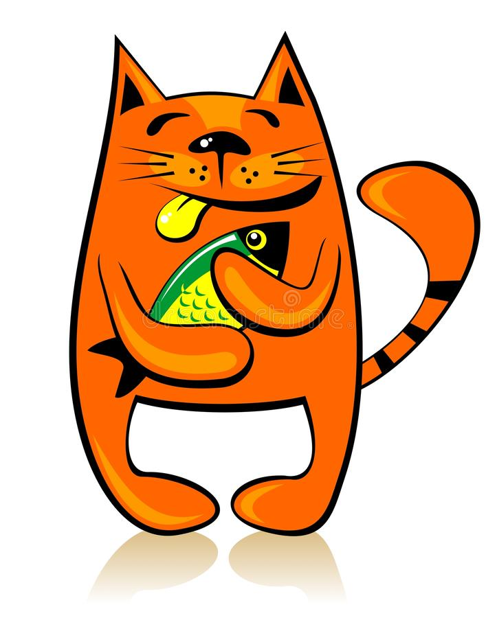 Download Cat with fish stock vector. Image of green, smile, graphics - 25374006