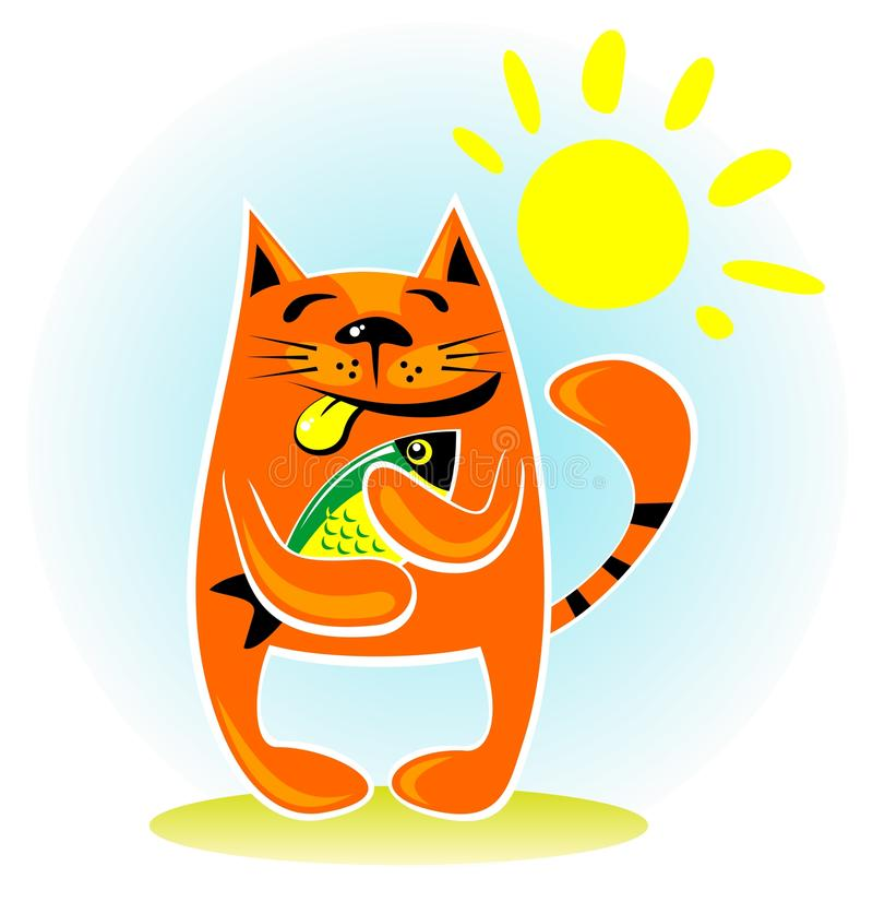 Download Cat with fish stock vector. Image of cheerful, artistic - 26146927