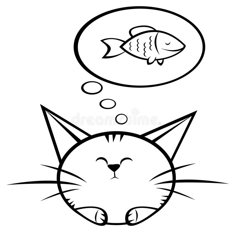 Cat and fish royalty free illustration