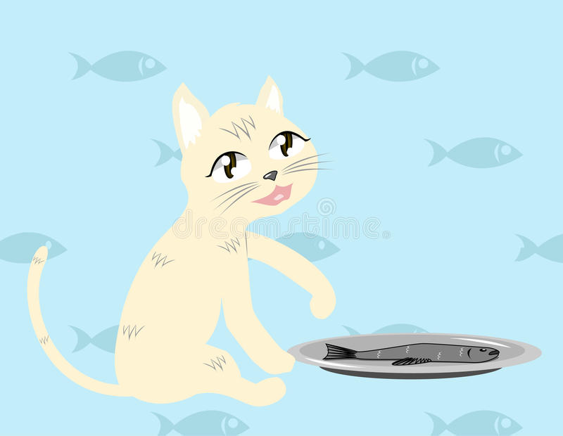 Download Cat With Fish Vector Royalty Free Stock Images - Image: 33106159