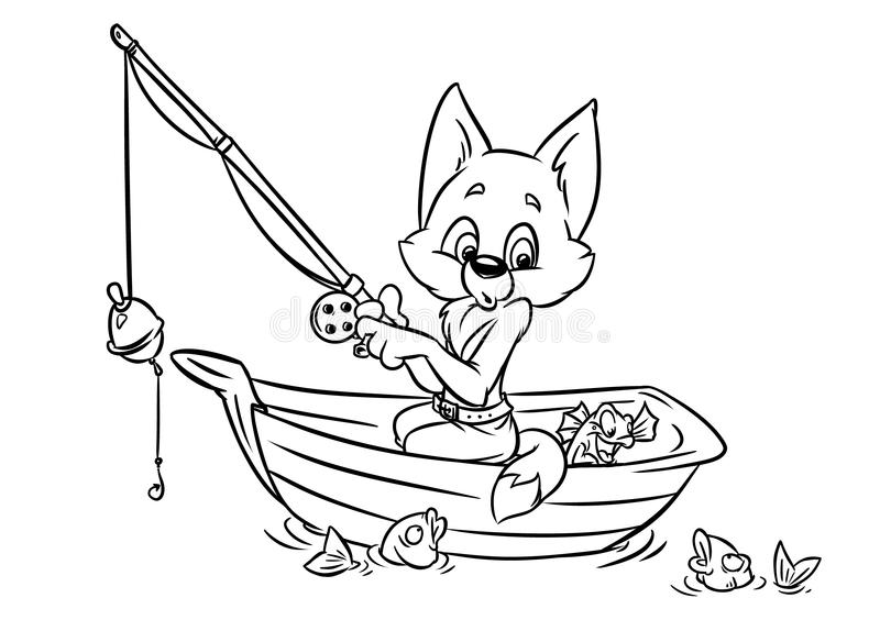 Download Cat Fisherman Catches A Fish Stock Illustration - Image: 37563981