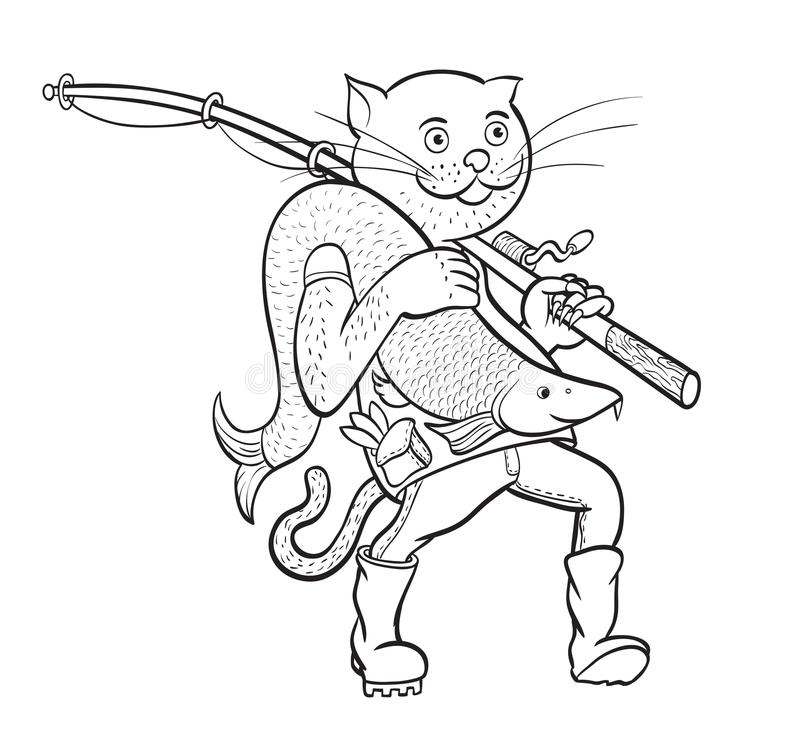 Cat Fisherman Lineair cijfer stock illustratie