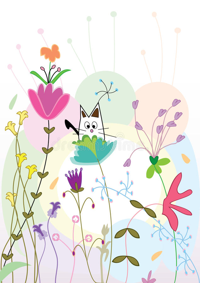 Download Cat On Flora Atmosphere_eps Stock Vector - Image: 16891956