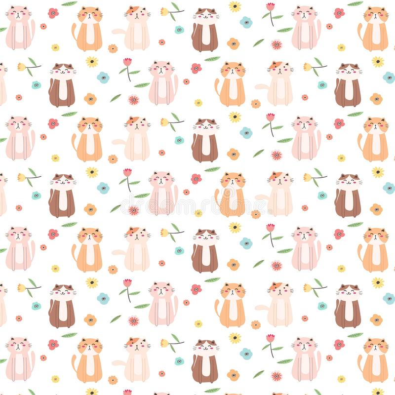 Cat And Floral Pattern Background bonito ilustração do vetor