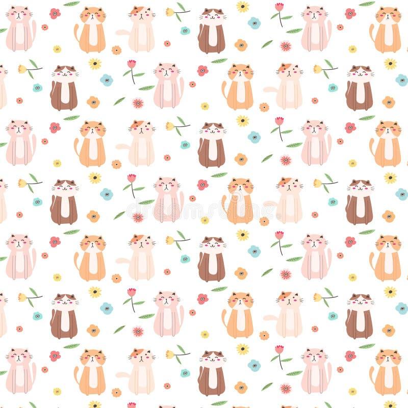 Cat And Floral Pattern Background linda ilustración del vector
