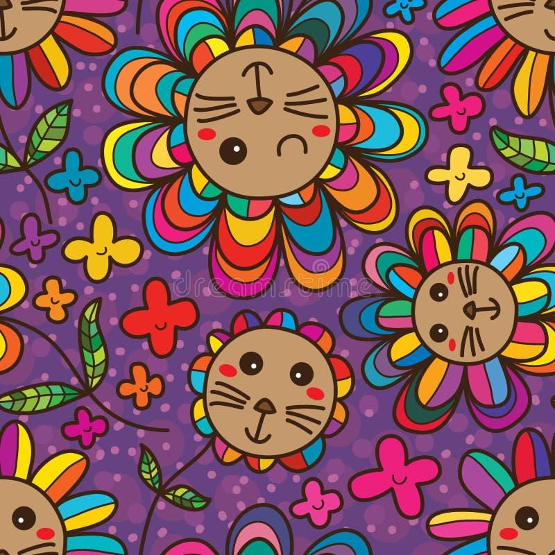 Cat flower petal cute seamless pattern royalty free illustration