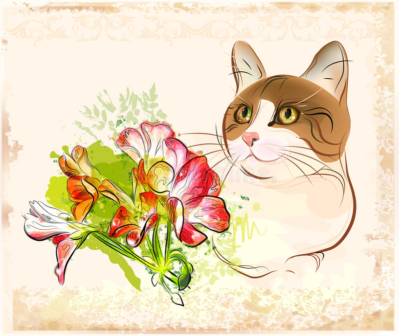 Download Cat with flowers stock vector. Illustration of animal - 18490648