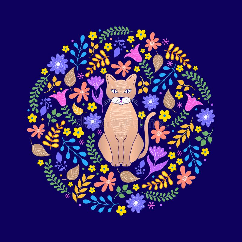 Cat and flowers on dark background vector illustration