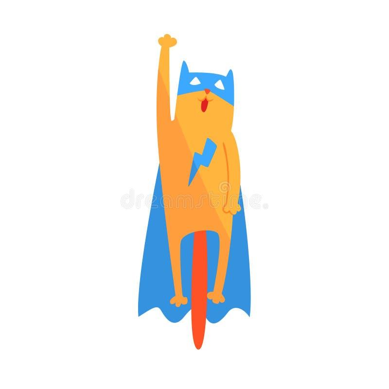 Cat Flying Animal Dressed As Superhero med tecken för vigilante för udde ett komiker maskerat geometriskt stock illustrationer