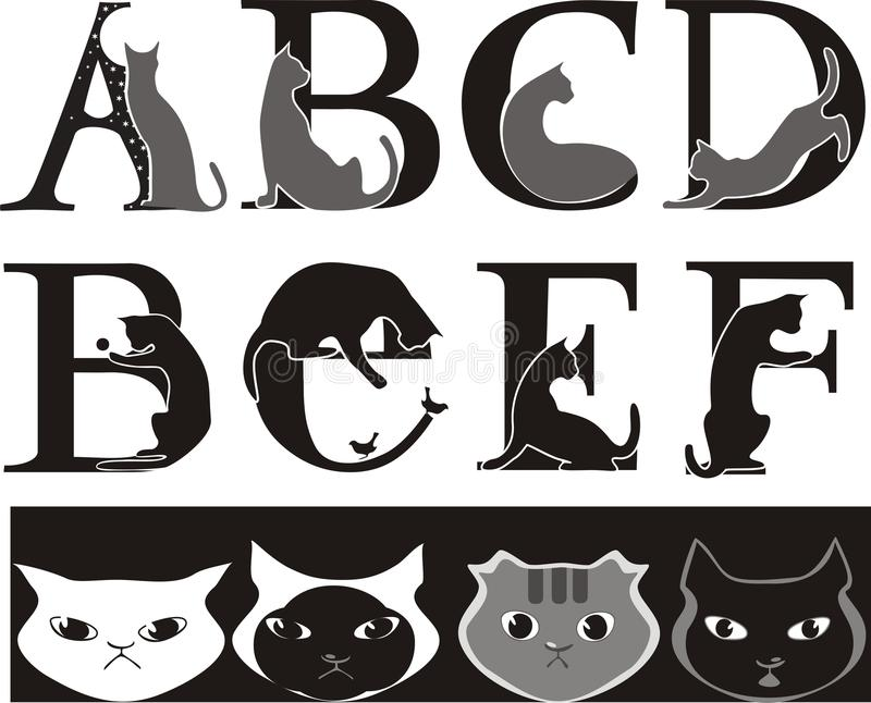 Cat font. Animalistic font, cat-letters , grey and black vector illustration