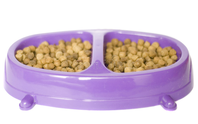 Cat food. Mauve bowl with cat food isolated on a white background royalty free stock photos