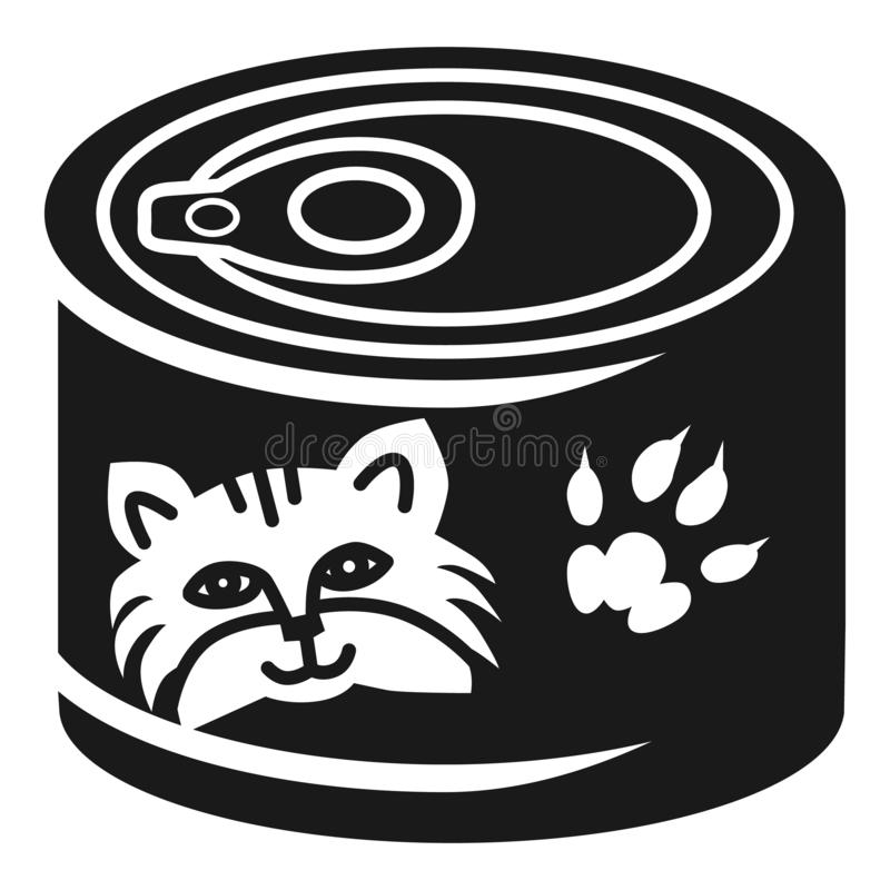 Cat food aluminum can icon, simple style royalty free illustration