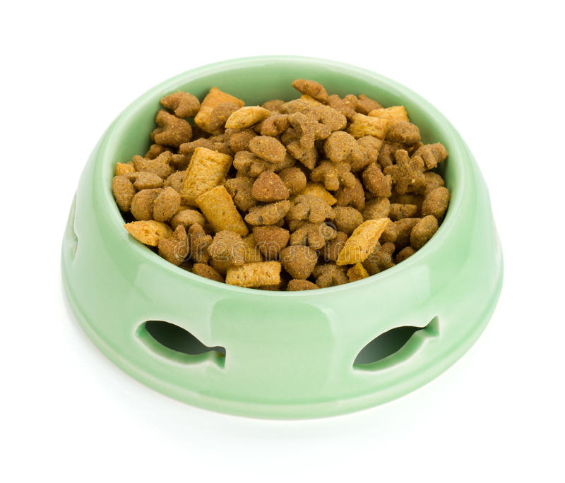 Cat food in a bowl. Isolated on white background stock images