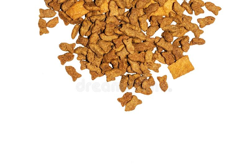 Cat food. Delicious dry cat food isolated white background stock photo