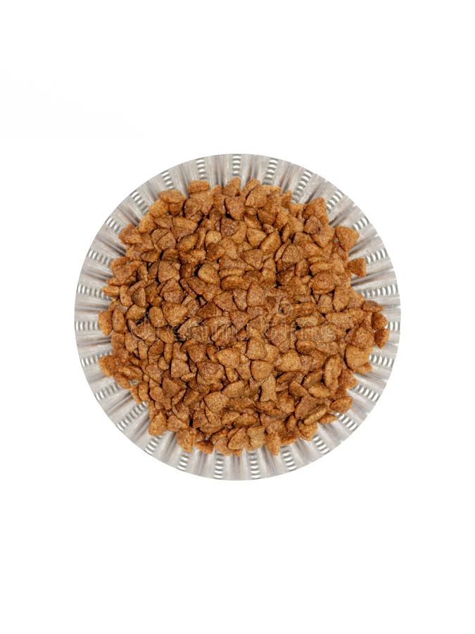 Cat food. Dry cat food in glass plate stock image
