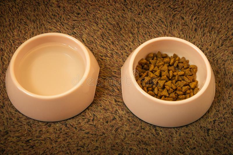 Cat food and water in pink cups royalty free stock images