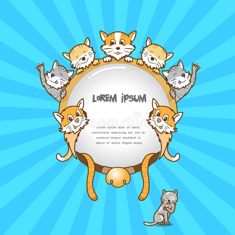 Cat frame on colour background,cute cat. Cat frame on colour background, cute cat , blank frame stock illustration