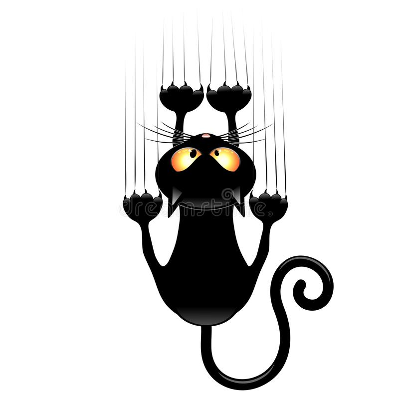 Cat Funny Cartoon Scratching Wall que cai para baixo ilustração cômico do vetor ilustração do vetor