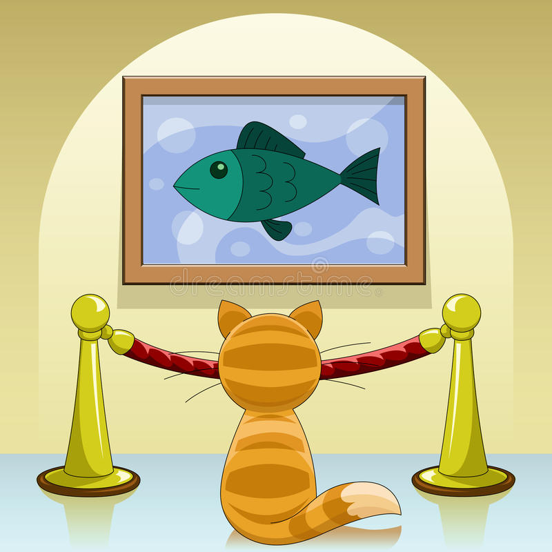 Download Cat in gallery stock vector. Image of wall, gallery, background - 14866302